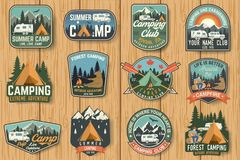 Set of Summer camp badges on the wood board. Vector. Concept for shirt , print, stamp, travel badges or tee. Design with rv trailer, camping tent, campfire stock illustration