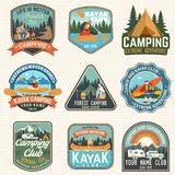 Set of summer camp, canoe and kayak club badges. Vector. Concept for patch. Retro design with camping, mountain, river. Set of summer camp, canoe and kayak club royalty free illustration