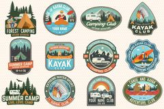 Set of summer camp, canoe and kayak club badges. Vector. For patch. Design with camping, mountain, river, american. Set of summer camp, canoe and kayak club vector illustration