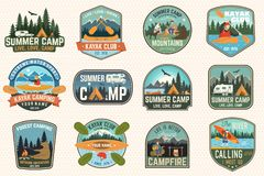 Set of summer camp, canoe and kayak club badges. Vector. For patch. Design with camping, mountain, river, american royalty free illustration