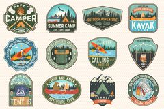 Set of summer camp, canoe and kayak club badges. Vector. For patch. Design with camping, mountain, river, american. Set of summer camp, canoe and kayak club royalty free illustration