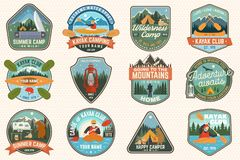 Set of summer camp, canoe and kayak club badges. Vector. For patch. Design with camping, mountain, river, american. Set of summer camp, canoe and kayak club stock illustration