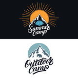 Set of Summer Camp and Outdoor vintage colored logos, emblems, labels, badges. Royalty Free Stock Photo