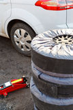 Set of summer car tyres Royalty Free Stock Photography