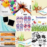 Set of summer cards, elements and frames. Royalty Free Stock Images