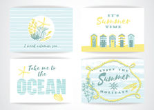 Set of summer cards with hand-drawing elements. Royalty Free Stock Photos