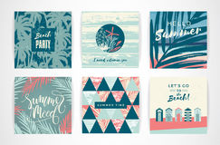 Set of summer cards with hand-drawing elements. Stock Image