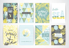 Set of summer cards with hand-drawing elements. Vector illustrations Stock Photo