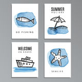 Set of summer cards with hand drawn doodles, sketches. Watercolor painted,  illustration background Royalty Free Stock Photos