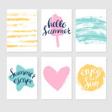Set of summer cards with lettering and textures Royalty Free Stock Photos