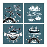 Set of summer cards with silhouettes of dolphins and ships. Stock Photography