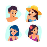 Set of summer cartoon avatars. Cartoon style Royalty Free Stock Image