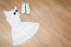 Set of summer clothes. Top view. Royalty Free Stock Image