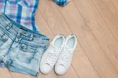 Set of summer clothes. Top view. Royalty Free Stock Photo