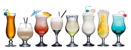 Set of summer cocktails. Large collection of summer refreshing cocktails in transparent glasses Stock Photos