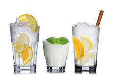Set of summer cocktails. Large collection of summer refreshing cocktails in transparent glasses Stock Photography