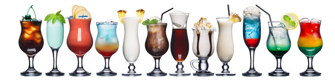 Set of summer cocktails. Large collection of summer refreshing cocktails in transparent glasses Royalty Free Stock Image