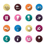 Set of summer colorful icons Royalty Free Stock Photography