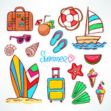 Set of summer colorful symbols Royalty Free Stock Photo