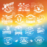 Set of summer design elements and frames. Royalty Free Stock Images