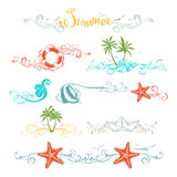 Set of summer design elements and page decorations. Stock Photo