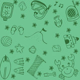 Set of summer doodle art Royalty Free Stock Image