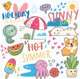 Set of summer doodle collage vector illustration