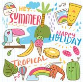 Set of summer doodle collage stock illustration