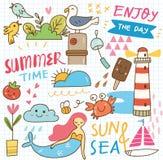Set of summer doodle collage vector illustration