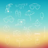 Set of the summer elements drawn with a hand Royalty Free Stock Image