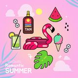 Set of summer elements illustration vector illustration