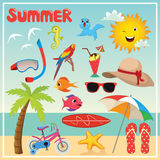 Set of Summer Elements and Illustrations Royalty Free Stock Photos