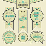 Set of summer events related vintage labels Stock Photos
