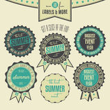 Set of summer events related vintage labels Stock Images