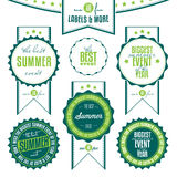 Set of summer events related vintage labels. Collection of summer events related vintage labels isolated on white background Royalty Free Stock Images