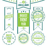 Set of summer events related vintage labels. Collection of summer events related vintage labels isolated on white background Stock Photo