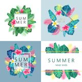 Set of summer exotic and tropic card design. Stock Image