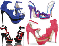 Set of summer female shoes. On white background Stock Photos