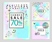 Set of summer and final sale banners. Square. Memphis style. Vector illustration. Simple geometric forms. Royalty Free Stock Photos