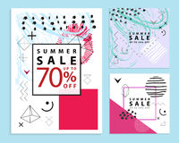 Set of summer and final sale banners. Square. Memphis style. Vector illustration. Simple geometric forms. Stock Photography