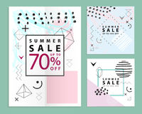 Set of summer and final sale banners. Square. Memphis style. Vector illustration. Simple geometric forms. Stock Images