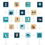 Set of summer flat icon. Stock Images