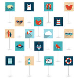 Set of summer flat icon. Royalty Free Stock Photos