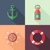 Set of summer flat square icons with long shadows. stock illustration