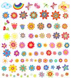 Set of summer flowers. Rainbow, butterfly and dragonfly Royalty Free Stock Image