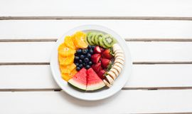 Set of summer. Fresh fruit plate, top view from above Royalty Free Stock Image