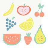 Set of summer fruit icons vector illustration stock illustration