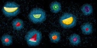 Set of summer fruits on a dark background. Hand drawn vector illustration