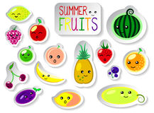 Set of summer fruits in flat style. Cute kawaii faces of fresh ripe fruits. Stock Image