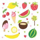 Set of summer fruits, ice cream and other food with relax, summer and vacation happy mood. Summer cartoon hand draw. Elements about sweet fruits, ice cream Stock Image